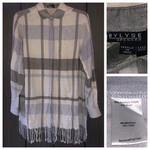 Bylyse Spenard Anthropologie Flannel Shirt Fringe